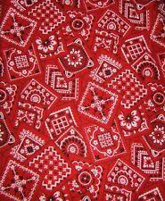 "New listing Red Bandana Fabric Western Cowboy 18"" x 18"" Square New Cotton"
