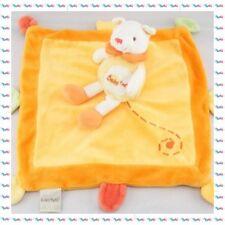 G - Doudou Semi Plat Carré Chat Orange Grelot Baby Nat