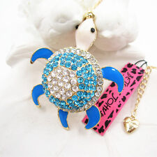 Betsey Johnson Blue Lovely Tortoise Turtle Pendant Necklace Sweater Chain