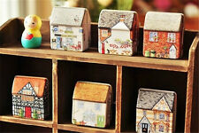 Mini dream Vintage House Tinplate Storage Tin Box Coin Bag Jewelry Box OZ