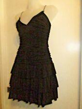BCBG MAZ AZRIA S Dress Black Mini Ruched Ruffle Skirt Cocktail Club Party Sexy