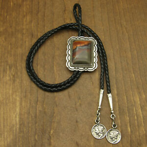 Sterling Silver Southwest Hematite and Tigers Eye Bolo Tie By Tom Dewitt