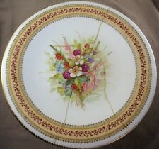 1874 Royal Worcester Handpainted Floral Bouquet Tazza (repaired damage)