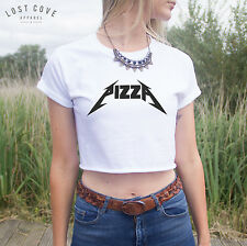 * Pizza Crop Top Shirt Rock Heavy Metal Grunge Band Love Eating Slices Food *