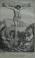 stampa antica old print gravure GESU' CALVARIO CROCIFISSIONE 1857