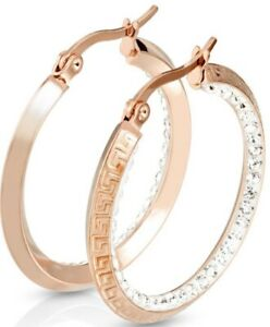 *NEW & SEALED - Quality Rose Gold & Crystal Large Hoop Pair Of Earrings