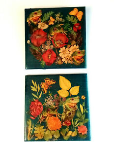 Hand Crafted Art Tile Frogs Butterfly Garden Ceramic Wall Decor (MB1)