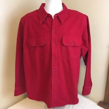 Vtg Woolrich Men Chamois Flannel Shirt Red Long Sleeve Button Front XL Free Ship