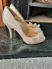 *NEW*TED BAKER Gold Leather Shimmer Peep Toe Platform  Heels Size UK4/37