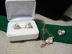 SET GOLD OVER STERLING SILVER SET PEARLS  WHITE SAPPHIRES O1 *