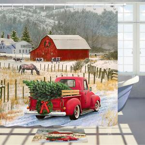 "Rustic Christmas Red Truck Shower Curtain Bathroom Decor Fabric & 12hooks 71"""