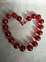 Vintage Cherry Red Glass Bead Necklace c1950s Chunky Large Polished Marble Style