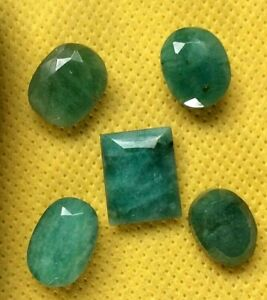 Job Lot 5 x Emerald Stones Faceted both sides 37.5 carat in total