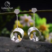 Unique Cute Girl Love Cat Drop Earrings 925 Sterling Silver Jewelry for Women