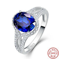 3.7CT Oval Cut Gemstone Sapphire 100% 925 Sterling Silver Ring Size L½ N½ P½ R½