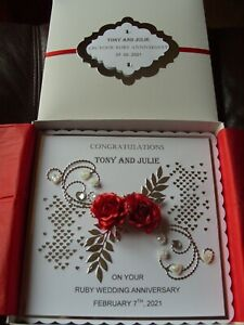 40th/Ruby Wedding Anniversary Card Handmade - Personalised