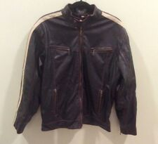Men's Point Zero Classic Faux Leather Black Jacket with Stripe - Size Medium