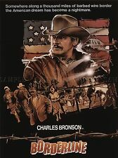 ADVERTISING MOVIE FILM BORDERLINE CHARLES BRONSON BARBED WIRE FLAG POSTER LV1001