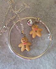 """Gingerbread Man Charm, Argent sterling 16"""" Chaîne + Plain Bébé Enfant Bracelet/dans un box."""