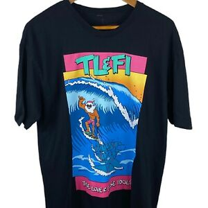 Men's TLFI Santa T-Shirt L Large Surfing Father Christmas With Dolphins Print T