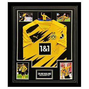 Signed Erling Haaland Shirt Framed - Borussia Dortmund Icon Autograph +COA