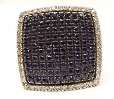 Chimento 18K White Gold Blue Sapphire Diamond Ring Sz 7 Pave Square Cocktail