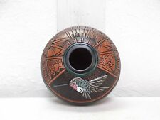Etched Navajo Pottery Native American Indian Pueblo hummingbird by Paul Lansing