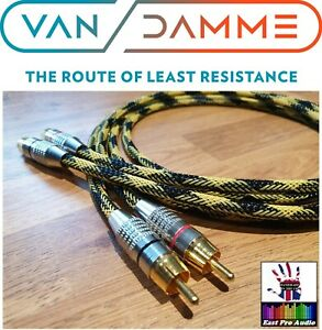 Linear Crystal OFC Van Damme Gold RCA Phono Cable Black & Yellow braided 1m pair