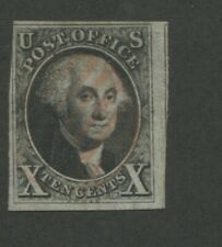 1847 United States George Washington Postage Stamp #2 Used Grid Cancel Certified