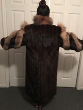 STUNNING Long Multi Color Ladies Mink Coat Sz. Small Free Ship