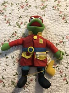 Vintage The Muppets Kermit Frog Plush Rubber Face Fireman Fire Fighter Doll