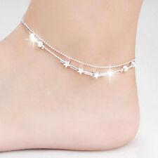 Lady Pentagram perle étoiles argent plaqué Double chaîne Bracelet de cheville