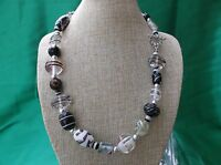 Beautiful chunky multi  color Lampwork bead necklace 19 inches w/Tibetan silver