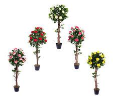 Best Artificial 4ft 120cm Rose Flower Tree garden conservatory office plant new
