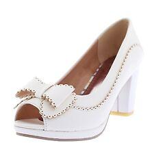 Elegant PUMPS Ankle Block Heel Platform PEEP Toe Shoes UK Sz 1 2 3 4 5 6 7 White UK 6 ( Size Tag CN 40)