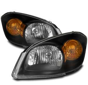 FOR 05-10 CHEVY COBALT/07+ PONTIAC G5 REPLACEMENT HEADLIGHTS LAMPS BLACK LH+RH