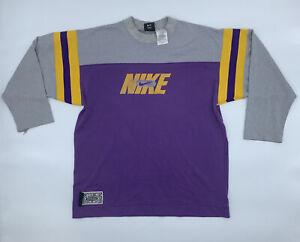 Vintage Nike Baseball Tee Vikings Lakers 21 3/4 Sleeve Purple Yellow Grey Men S