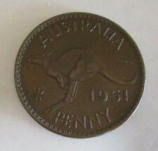 1951 - Australian One Penny Coin - Kangaroo and King George VI - Circulated