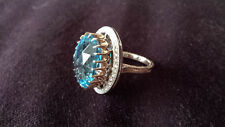 Unique Designer hand made 17.85 ct London Blue topaz & 35 diamonds cocktail ring