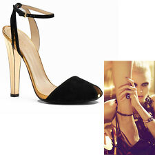 35 NEW $1495 GUCCI RUNWAY Black Gold Delphine MIRROR Ophelie ANKLE STRAP HEELS
