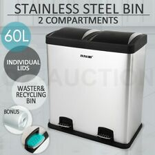 60L Rubbish Bin Dual Pedal Compartment Stainless Steel Kitchen Waste Garbage Can