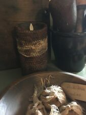 "Primitive grungy Luminara 7"" honeycomb pillar candle spiced timer"