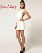 Aqua Monro Open Back Mini Party Dress in Cream UK8 EU36US4