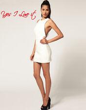 Vestido de fiesta Aqua Monro Mini de espalda abierta en Crema UK8 EU36US4