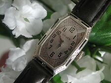 1930's Ladies Art Deco Enamel Gruen Guild Watch  ~  New Leather Band ~ Runs