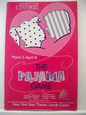 THE PAJAMA GAME Playbill JUDY KAYE / RICHARD MUENZ / LENORA NEMETZ NYC Opera `89