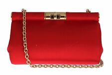 NWT $1100 DOLCE & GABBANA Bag Red Silk Gold Metal MISS EVA Purse Hand Clutch
