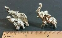"Elephant miniature pewter tone 1"" figurines pair"