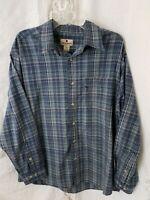 """Woolrich"" Large Men's Blue Gray Plaid Long Sleeve Button Up Shirt, Chest Pocket"