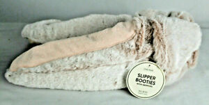 Women's Faux Fur Slipper Booties With Grippers, Size M/L (8-10) Blush Pink